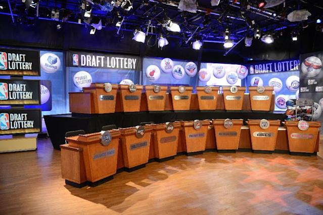 "NEW YORK, NY - MAY 21: A general overall view of the 2013 NBA Draft Lottery on May 21, 2013 at the ABC News' ""Good Morning America"" Times Square Studio in New York City. (Photo by Jennifer Pottheiser/NBAE via Getty Images)"