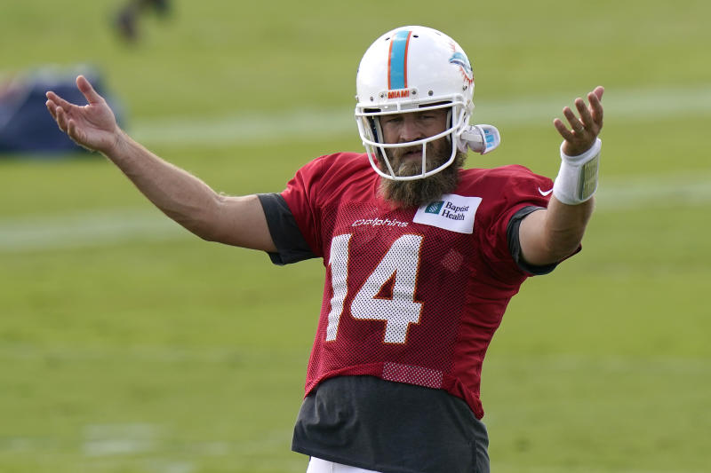 Miami Dolphins quarterback Ryan Fitzpatrick (14) gestures during practice. (AP Photo/Lynne Sladky)