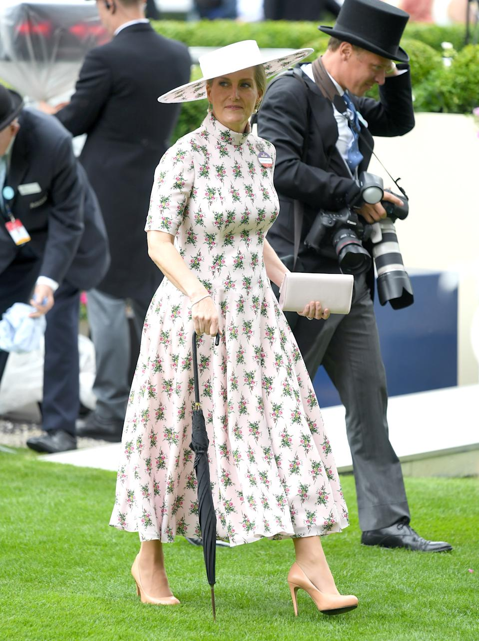 """Sophie, Countess of Wessex wore a custom printed midi dress by <a href=""""https://fave.co/2WRpr8g"""" rel=""""nofollow noopener"""" target=""""_blank"""" data-ylk=""""slk:Emilia Wickstead"""" class=""""link rapid-noclick-resp"""">Emilia Wickstead</a>, based on their Resort 2019 collection.<em> [Photo: Getty]</em>"""