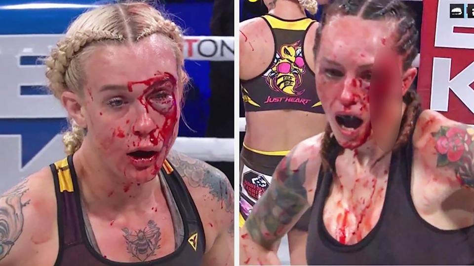 Bare Knuckle Fighting Championship fighters Taylor Starling and Charisa Sigala threw more than 500 punches at each other over five rounds. Pictures: Twitter