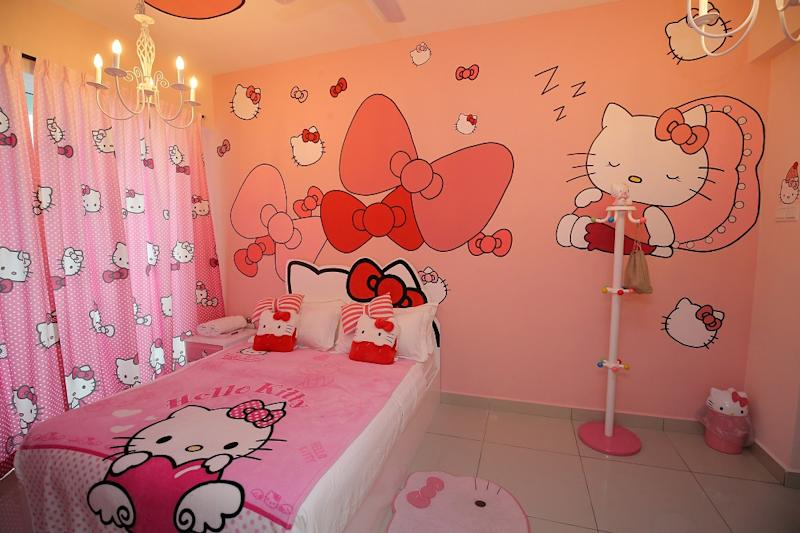 All things Pink: A view of the Hello Kitty themed room.