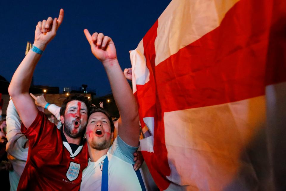 England fans went wild as the Three Lions reached the World Cup quarter-finals