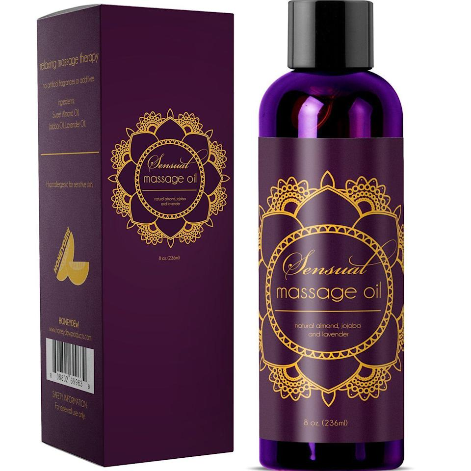"<p>As Amazon's top-selling massage oil made of Bulgarian lavender oil, Jojoba, and almond extract, you know this will get the job done for those sensual and more practical activities (like actual massages).</p><br><br><strong>Maple Holistics</strong> Honeydew Sensual Massage Oil with Pure Lavender Oil, $11.95, available at <a href=""https://www.amazon.com/Sensual-Massage-Pure-Lavender-Hypoallergenic/dp/B019FW8PA0"" rel=""nofollow noopener"" target=""_blank"" data-ylk=""slk:Amazon"" class=""link rapid-noclick-resp"">Amazon</a>"