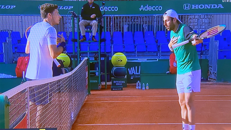 Pablo Carreno Busta and Stefano Travaglia had a brief confrontation after the Spanish star accused his opponent's girlfriend of interrupting their match at the Monte Carlo Masters. Picture: Twitter/Jose Morgado