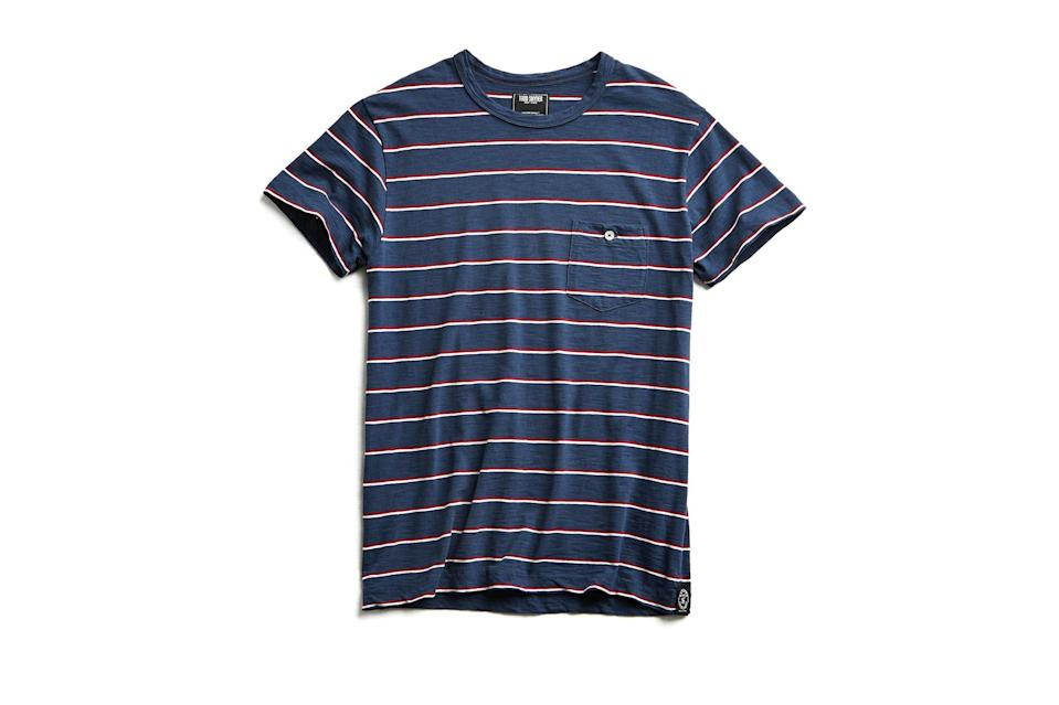 "$88, Todd Snyder. <a href=""https://www.toddsnyder.com/collections/sale/products/short-sleeve-stripe-tee-navy"" rel=""nofollow noopener"" target=""_blank"" data-ylk=""slk:Get it now!"" class=""link rapid-noclick-resp"">Get it now!</a>"