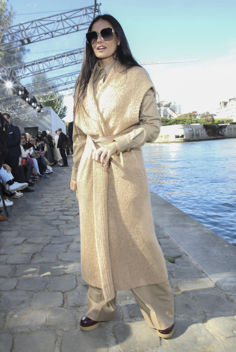 Demi Moore arrives for the Chloe Spring-Summer 2022 ready-to-wear fashion show presented in Paris, Thursday, Sept. 30, 2021. (Photo by Vianney Le Caer/Invision/AP)