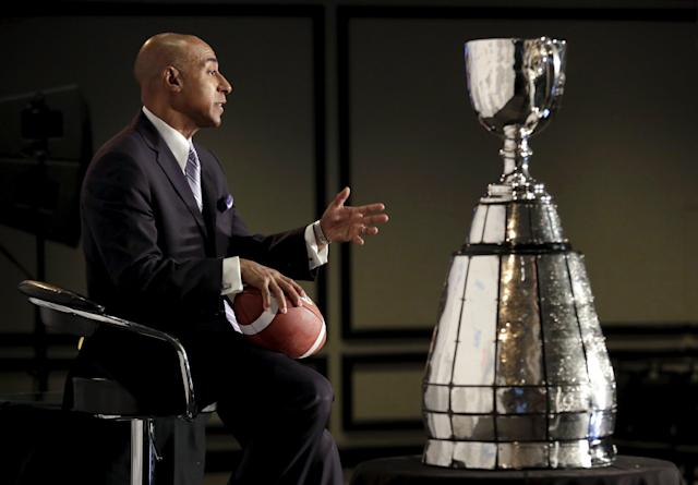 Canadian Football League Commissioner Jeffrey Orridge speaks at a news conference ahead of the CFL 103rd Grey Cup championship football game in Winnipeg, Manitoba, Canada, November 27, 2015. REUTERS/Lyle Stafford