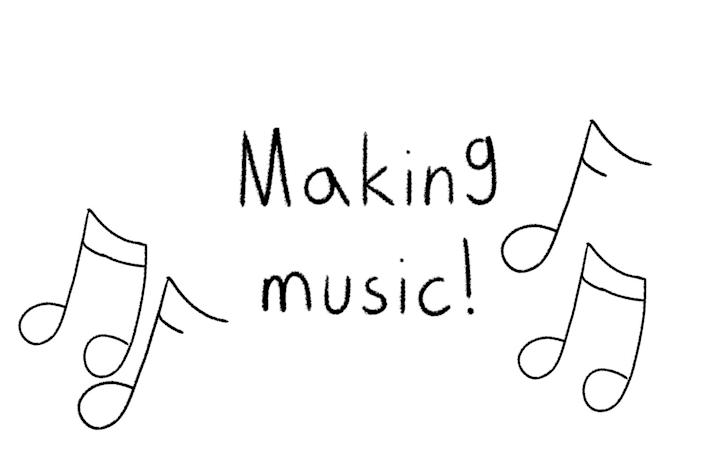 """The words """"making music,"""" accompanied by music notes."""