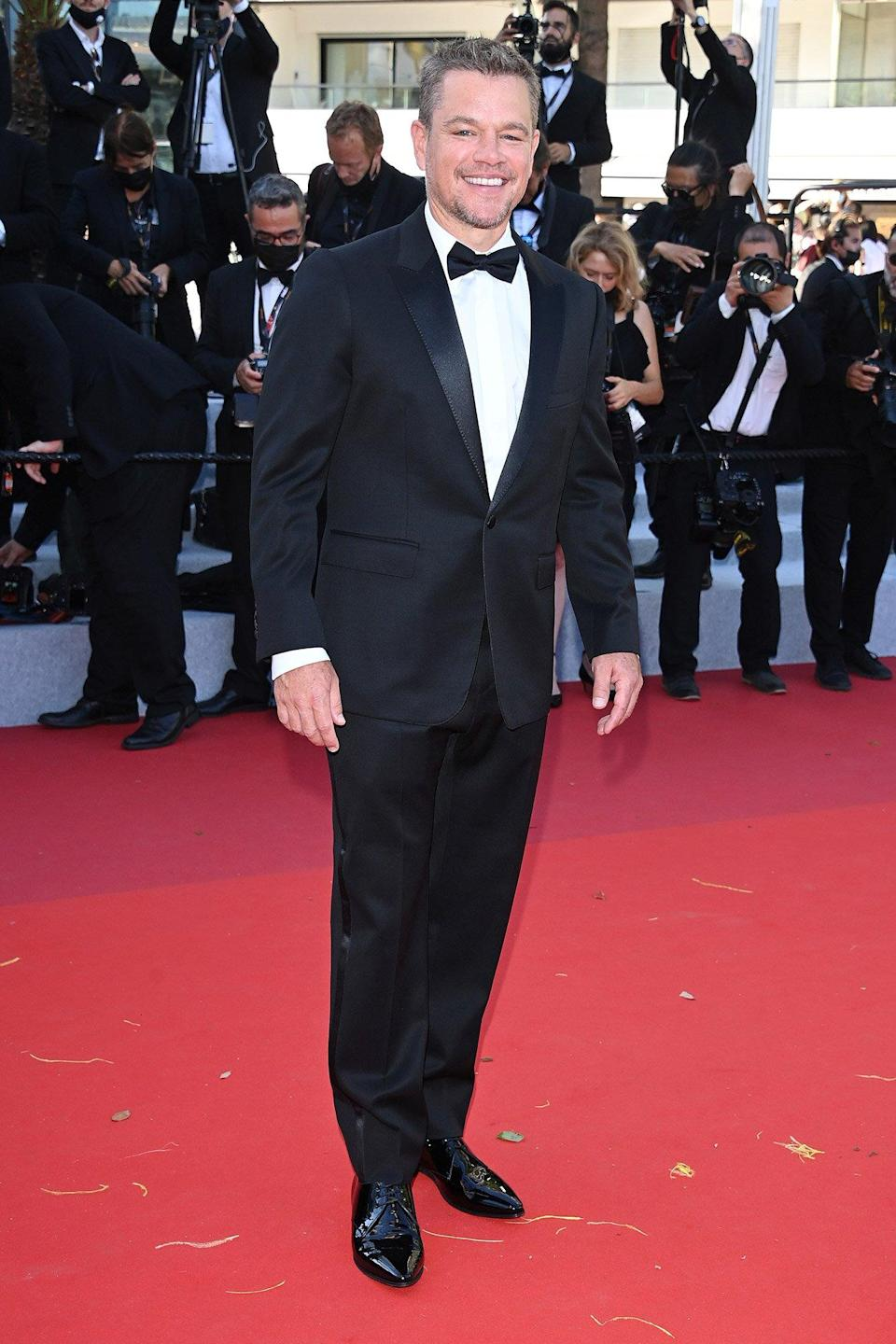 """Matt Damon attends the """"Stillwater"""" screening during the 74th annual Cannes Film Festival on July 08, 2021 in Cannes"""