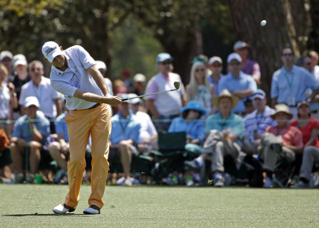 Bill Haas hits off the 15th fairway during the first round of the Masters golf tournament Thursday, April 10, 2014, in Augusta, Ga. (AP Photo/Matt Slocum)