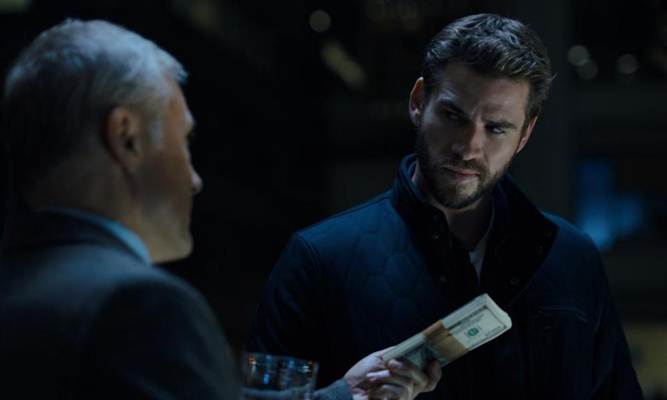 Christoph Waltz and Liam Hemsworth in Most Dangerous Game on the new streaming app, Quibi.