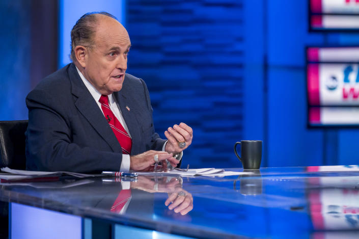 "THIS WEEK - 9/29/19 Rudy Giuliani, President Donald Trump's personal attorney, defended himself Sunday on ""This Week with George Stephanopoulos"" from accusations lodged by a former White House official that he has trafficked unfounded theories about foreign interference in the 2016 presidential election. ""This Week"" airs Sundays from 10am-11am, ET, on ABC. (Photo by Jeff Neira/Walt Disney Television via Getty Images) RUDY GIULIANI"