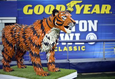 Goodyear introduces a life-sized tire mascot sculpture of the University of Memphis' Tom the Tiger on Thursday, Dec. 26, 2019, at AT&T Stadium in Arlington, Texas. Made from 145 Goodyear tires and standing over five feet tall, the Tom the Tiger sculpture recognizes the drive and effort of the University of Memphis players for advancing to the 84th annual Goodyear Cotton Bowl Classic. The artwork took over 200 man hours to complete. (Matt Strasen/AP Images for Goodyear)