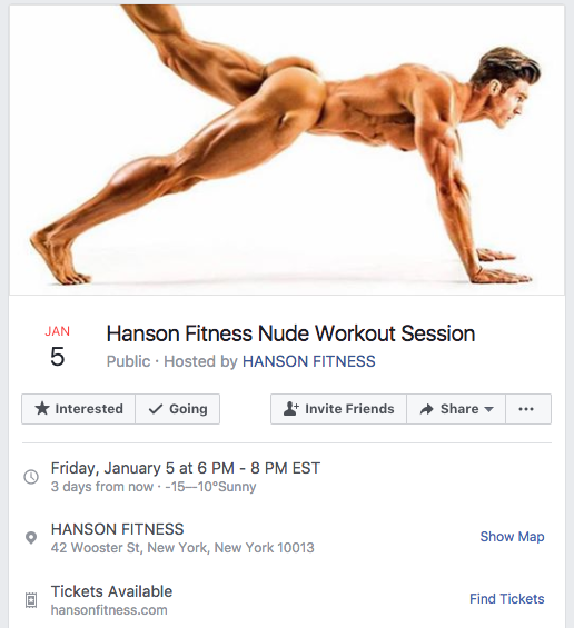 The first naked workout class will happen later this week. Photo: Facebook