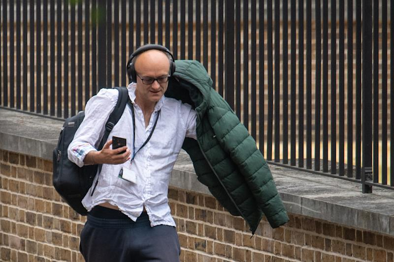 Dominic Cummings, aide to Prime Minister Boris Johnson, arrives at the rear entrance of 10 Downing Street, in Westminster, London. (Photo by Dominic Lipinski/PA Images via Getty Images)