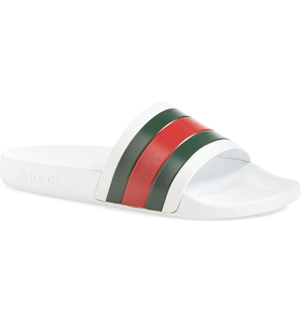 <p>These <span>Gucci Pursuit '72 Sport Slides</span> ($210) will give his look a luxe touch.</p>