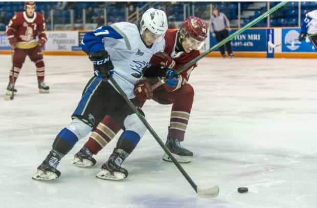 The Saint John Sea Dogs and the Acadie-Bathurst Titan met in the New Brunswick round-robin of the QMJHL playoffs. The league is the only major junior league in Canada moving ahead with playoffs. Neither the OHL nor WHL will hold playoffs due to the COVID-19 pandemic (Michael Hawkins/Saint John Sea Dogs  - image credit)