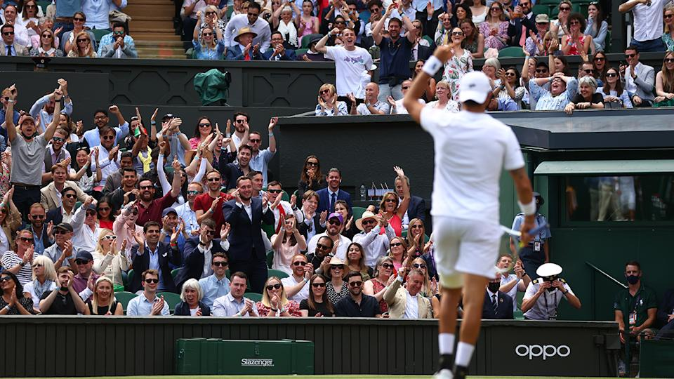 The Wimbledon, pictured here right behind Matteo Berrettini in the final.
