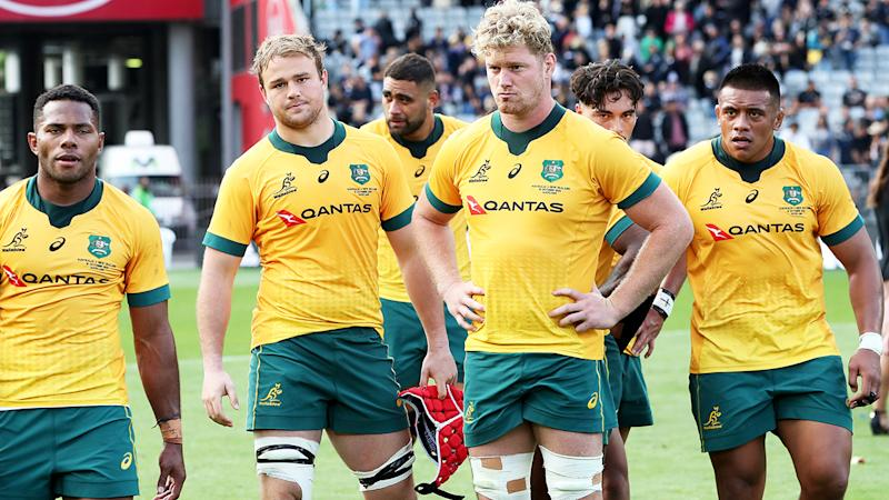 Wallabies players, pictured here looking dejected after losing the Bledisloe Cup match at Eden Park.