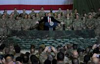 US President Donald Trump speaks to the troops during a surprise Thanksgiving visit at Bagram Airfield, on November 28, 2019 in Afghanistan (AFP Photo/Olivier Douliery)