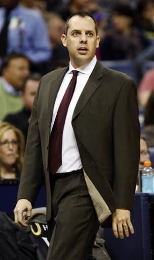 Indiana Pacers head coach Frank Vogel leads his team while playing the Memphis Grizzlies in the second half of an NBA basketball game on Friday, Feb. 10, 2012, in Memphis, Tenn. (AP Photo/Alan Spearman)