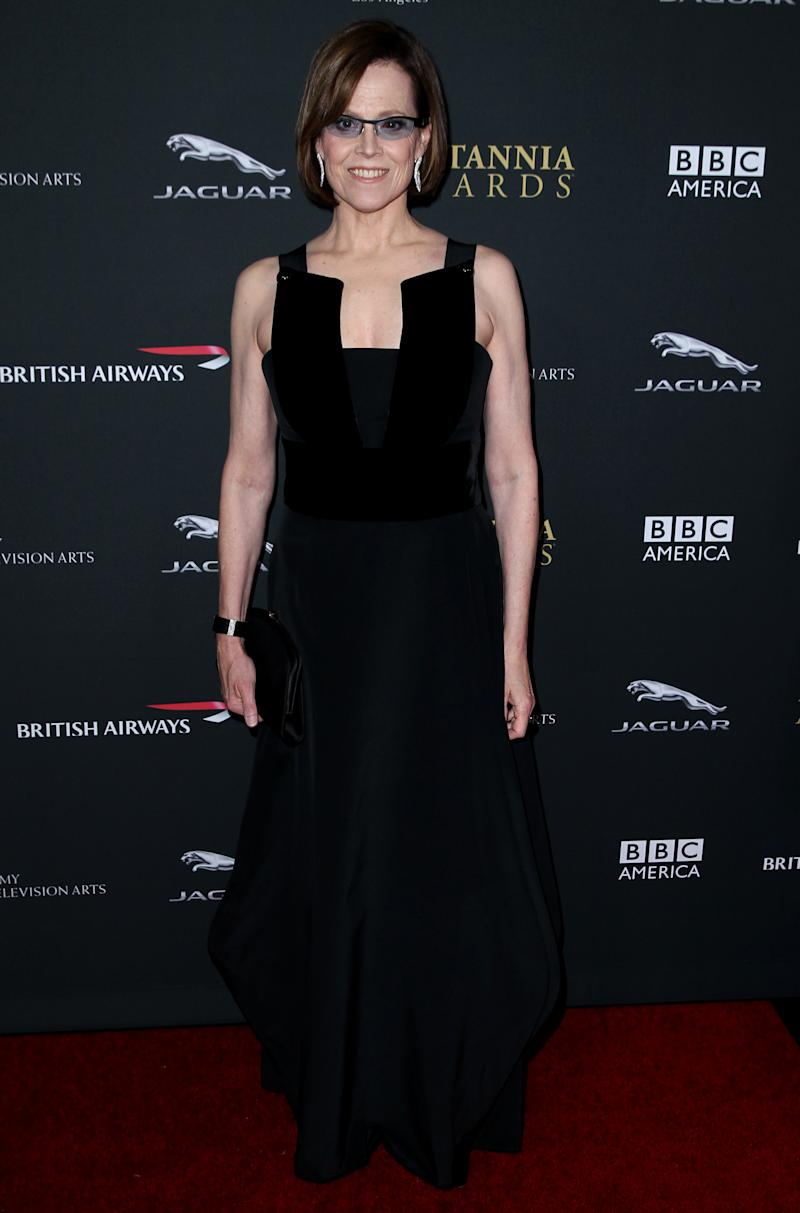 Sigourney Weaver arrives at the 2013 BAFTA Los Angeles Britannia Awards at the Beverly Hilton Hotel on Saturday, Nov. 9, 2013 in Beverly Hills, Calif. (Photo by Matt Sayles/Invision/AP)