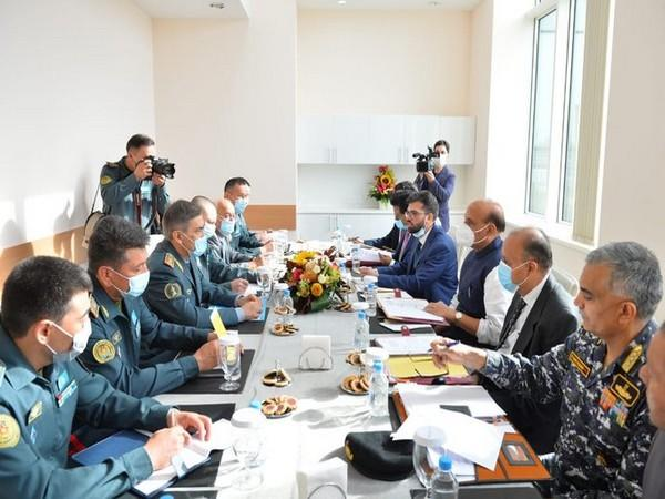 Defence Minister Rajnath Singh with his Kazakh counterpart Lieutenant General Nurlan Yermekbayev in Moscow on Saturday. (Photo source: Rajnath Singh Twitter)