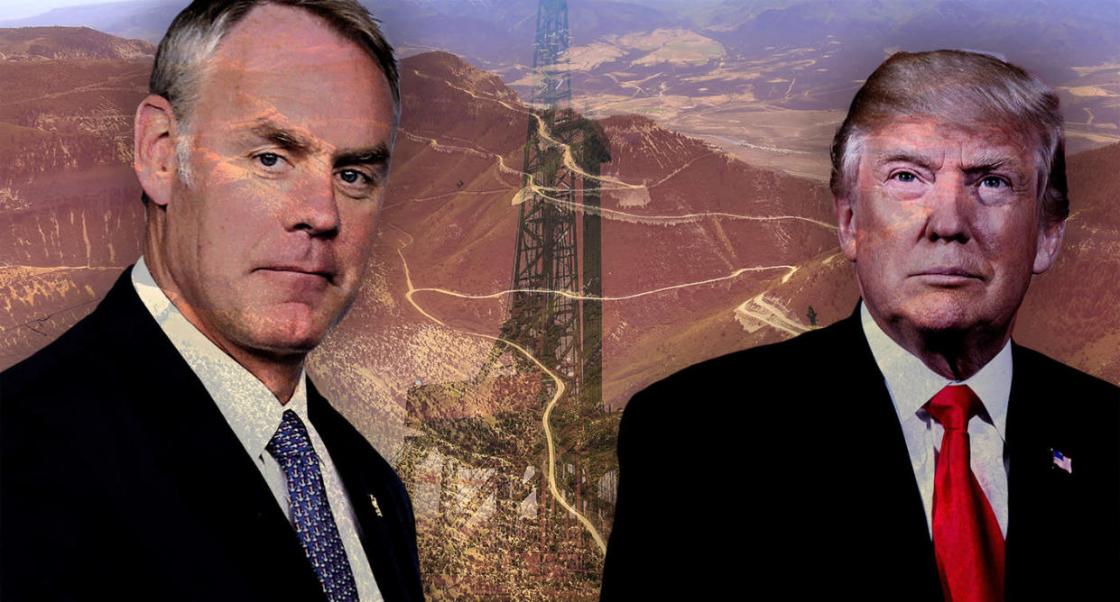 Secretary of the Interior Ryan Zinke and Donald Trump. (Photo illustration: Yahoo News, photos: AP (2), Helen H. Richardson/Denver Post via Getty Images)