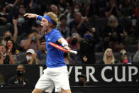 Team Europe's Andrey Rublev, of Russia, reacts after winning a crucial game against Team World's Diego Schwartzman, of Argentina, at Laver Cup tennis, Friday, Sept. 24, 2021, in Boston. (AP Photo/Elise Amendola)