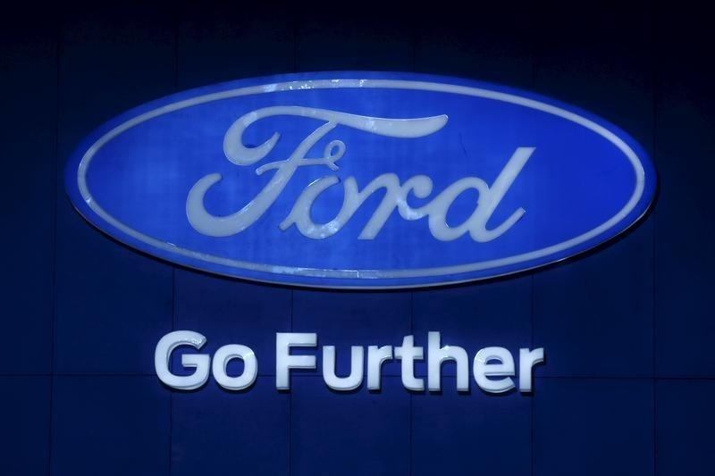 The logo of Ford is pictured at at the 37th Bangkok International Motor Show in Bangkok