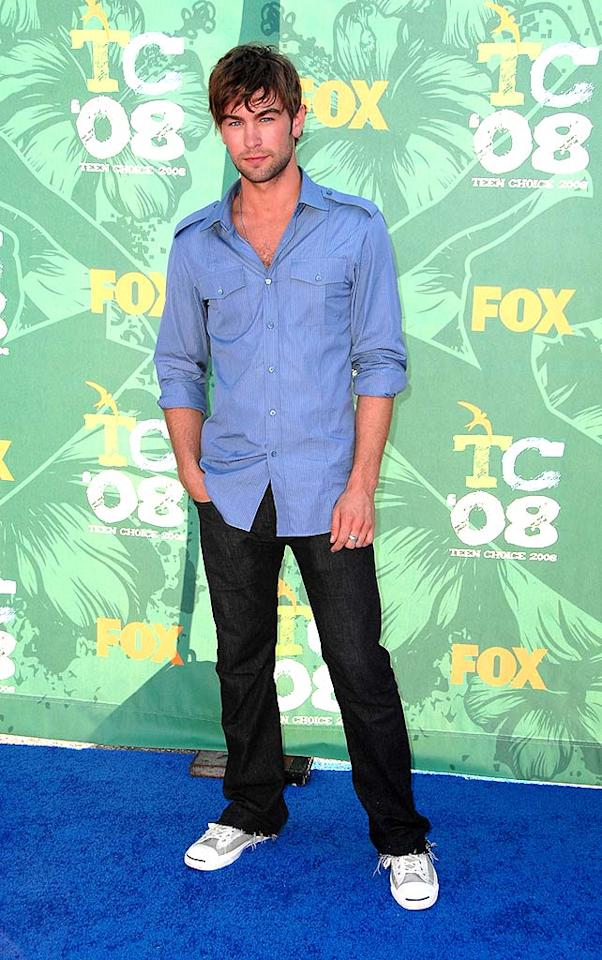 """Blake's """"Gossip Girl"""" co-star Chace Crawford looked extremely casual in a blue button-up and jeans before winning an award of his own, Breakout Male TV Star. Steve Granitz/<a href=""""http://www.wireimage.com"""" target=""""new"""">WireImage.com</a> - August 3, 2008"""