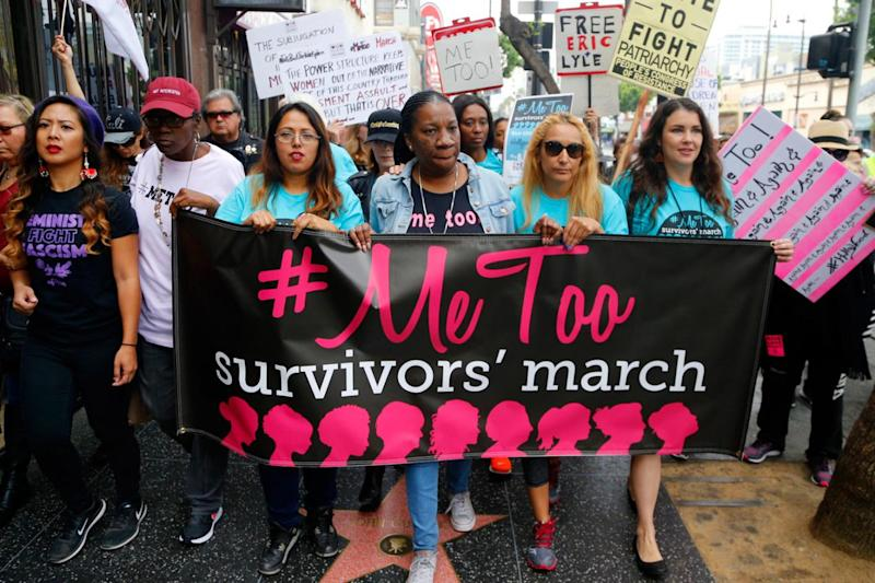 Women at a march against sexual harassment in Los Angeles last month. (Damian Dovarganes/AP)
