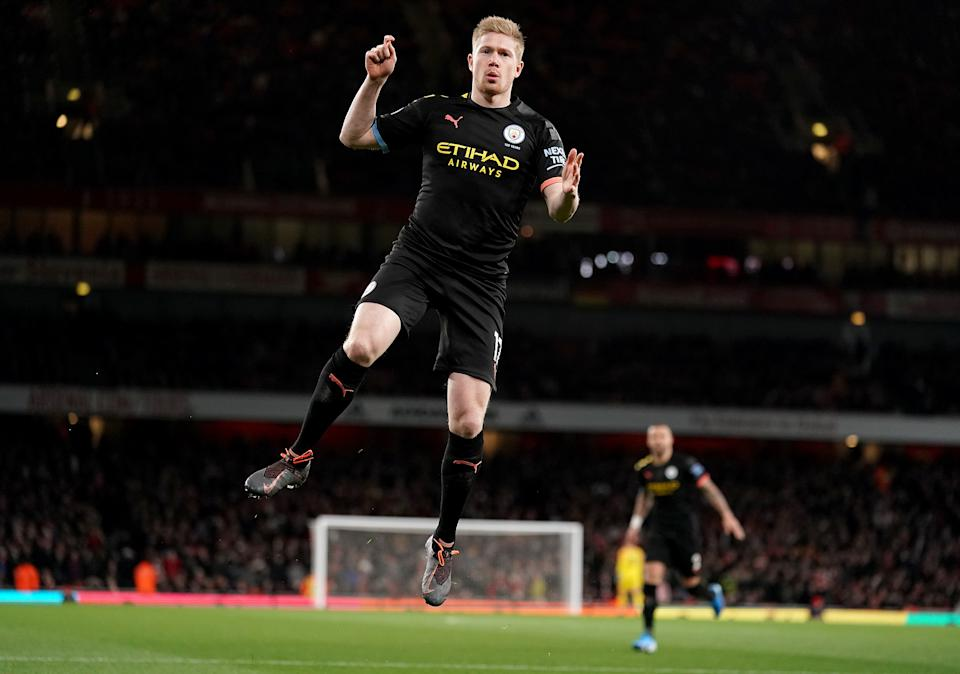Kevin de Bruyne and Manchester City were flying at the Emirates on Sunday. Arsenal, not so much. (Photo by John Walton/PA Images via Getty Images)