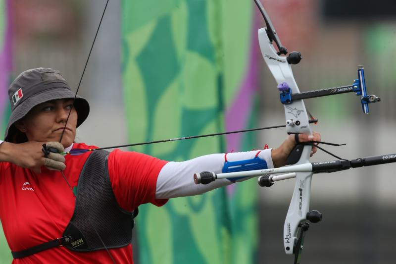 Mexico's Alejandra Valencia competes to win the Archery Women's Recurve Individual Gold Medal event during the Lima 2019 Pan-American Games in Lima on August 11, 2019. (Photo by LUKA GONZALES / AFP) (Photo credit should read LUKA GONZALES/AFP/Getty Images)