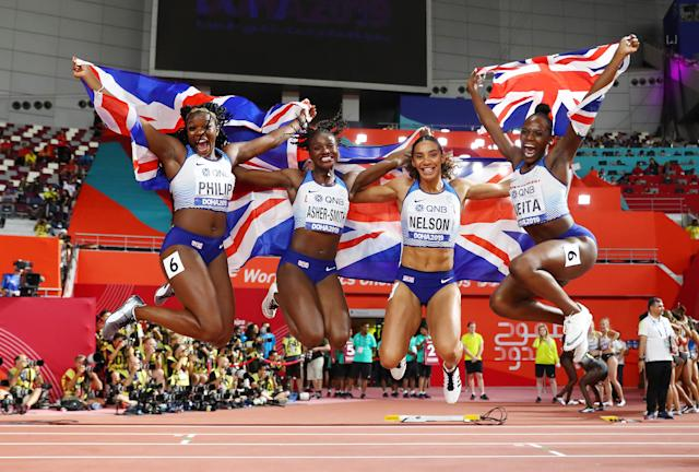 Asha Philip, Dina Asher-Smith, Ashleigh Nelson and Daryll Neita of Great Britain celebrate. (Photo by Michael Steele/Getty Images)