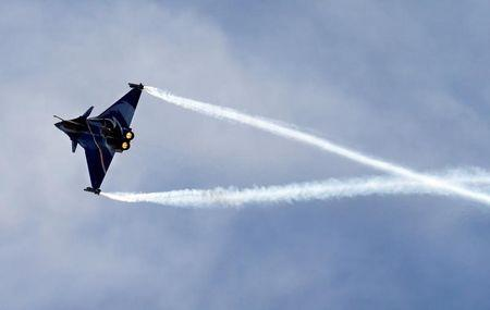 French fighter jet Rafale made by Dassault performs during the Breitling Airshow in Sion