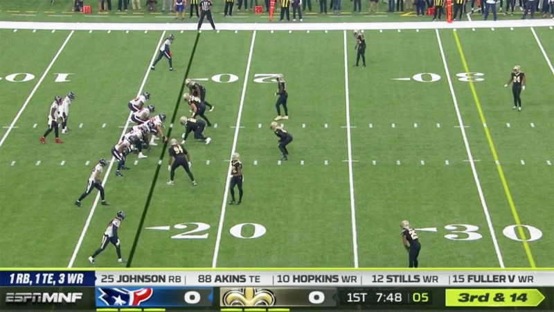 The yellow down and distance graphic, pictured here during the ESPN broadcast.