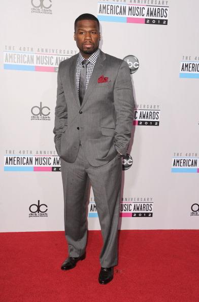 50 Cent arrives on the 2012 American Music Awards red carpet.