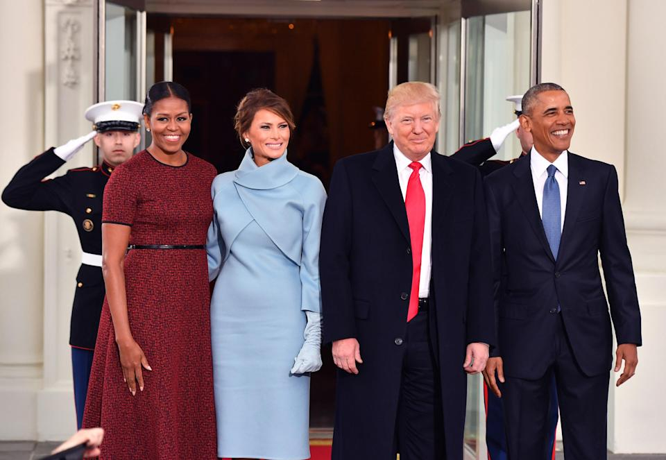 Michelle Obama and Melania Trump with their husbands during the 2017 inauguration. (Photo: Kevin Dietsch-Pool/Getty Images)