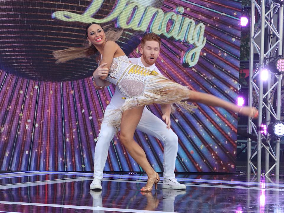 Neil and Katya Jones perform a routine as Presenters, Professional Dancers, Celebrity dancers and Judges onstage during the BBC Strictly Come Dancing Launch at Broadcasting House in London. (Photo by Keith Mayhew / SOPA Images/Sipa USA)