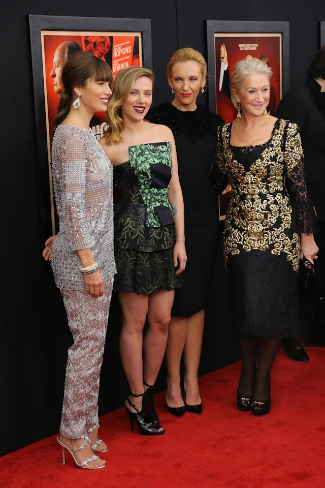 "NEW YORK, NY - NOVEMBER 18:  (L-R) Actresses Jessica Biel, Scarlett Johansson, Toni Collette and Dame Helen Mirren attend the ""Hitchcock"" New York Premiere at Ziegfeld Theater on November 18, 2012 in New York City.  (Photo by Neilson Barnard/Getty Images)"