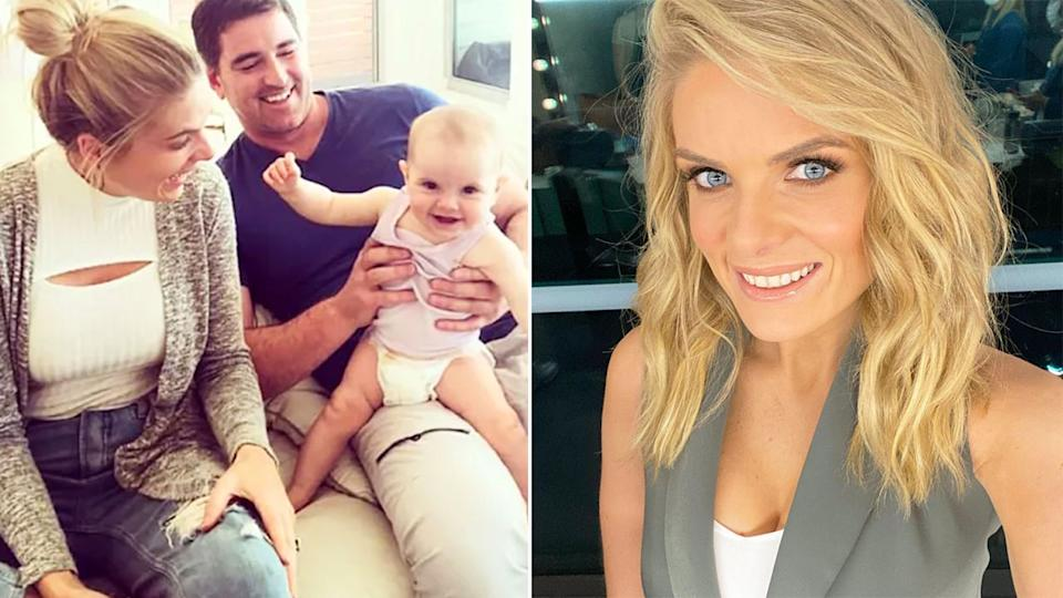 Pictured here, Erin Molan, her former partner and their daughter.