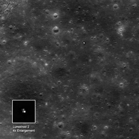 Image of the Soviet Union's Lunokhod 2 moon rover taken by NASA's Lunar Reconnaissance Orbiter, with the rover's tracks tracing its route southward. The enlargement is specially stretched to show the form of the rover; the brighest area may be