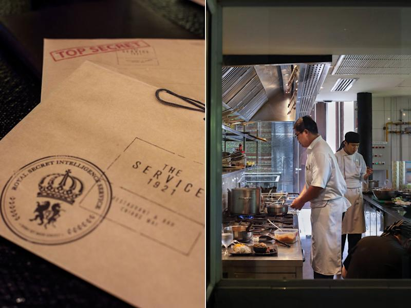 Menus arrive in discreet brown envelopes (left); cooking action inside the kitchen (right).