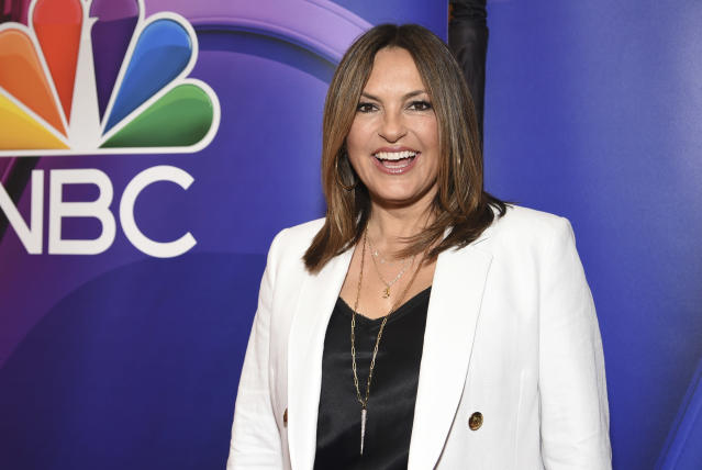 """FILE - This May 13, 2019 file photo shows Mariska Hargitay, of """"Law & Order: Special Victims Unit,"""" at the NBC 2019/2020 Upfront in New York. The show's 21st season premieres on Sept. 26. (Photo by Evan Agostini/Invision/AP, File)"""