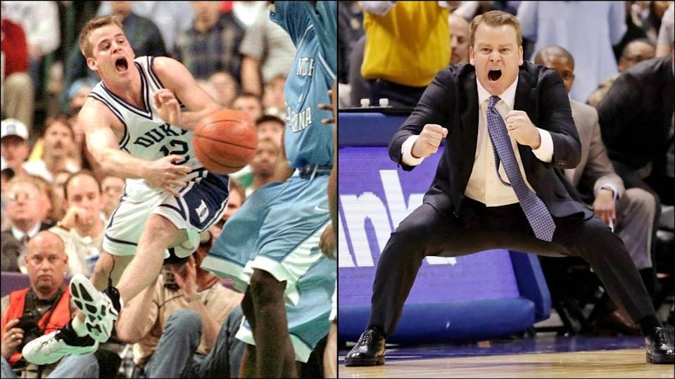 At left, Duke's Steve Wojciechowski plays in the ACC finals against North Carolina in 1998. At right, Wojciechowski coaches Marquette during a game against Georgetown in 2016.