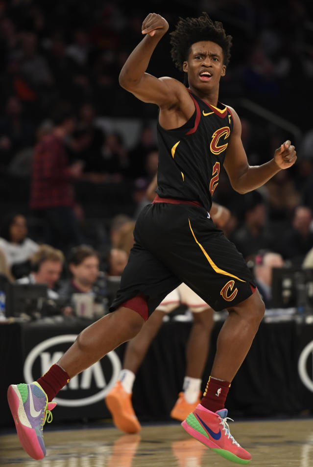 NEW YORK, NEW YORK - FEBRUARY 28: Collin Sexton #2 of the Cleveland Cavaliers reacts after making a basket during the second half of the game against the New York Knicks at Madison Square Garden on February 28, 2019 in New York City. (Photo by Sarah Stier/Getty Images)