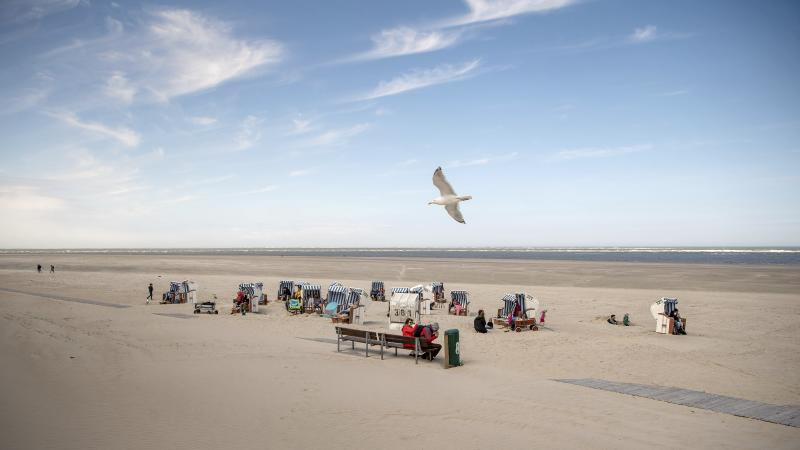 In this Saturday, May 16, 2020 photo a seagull flies over a small number of beach chairs on the island Spiekeroog, Germany. Germany's states, which determine their own coronavirus-related restrictions, have begun loosening lockdown rules to allow domestic tourists to return. (Sina Schuldt/dpa via AP)