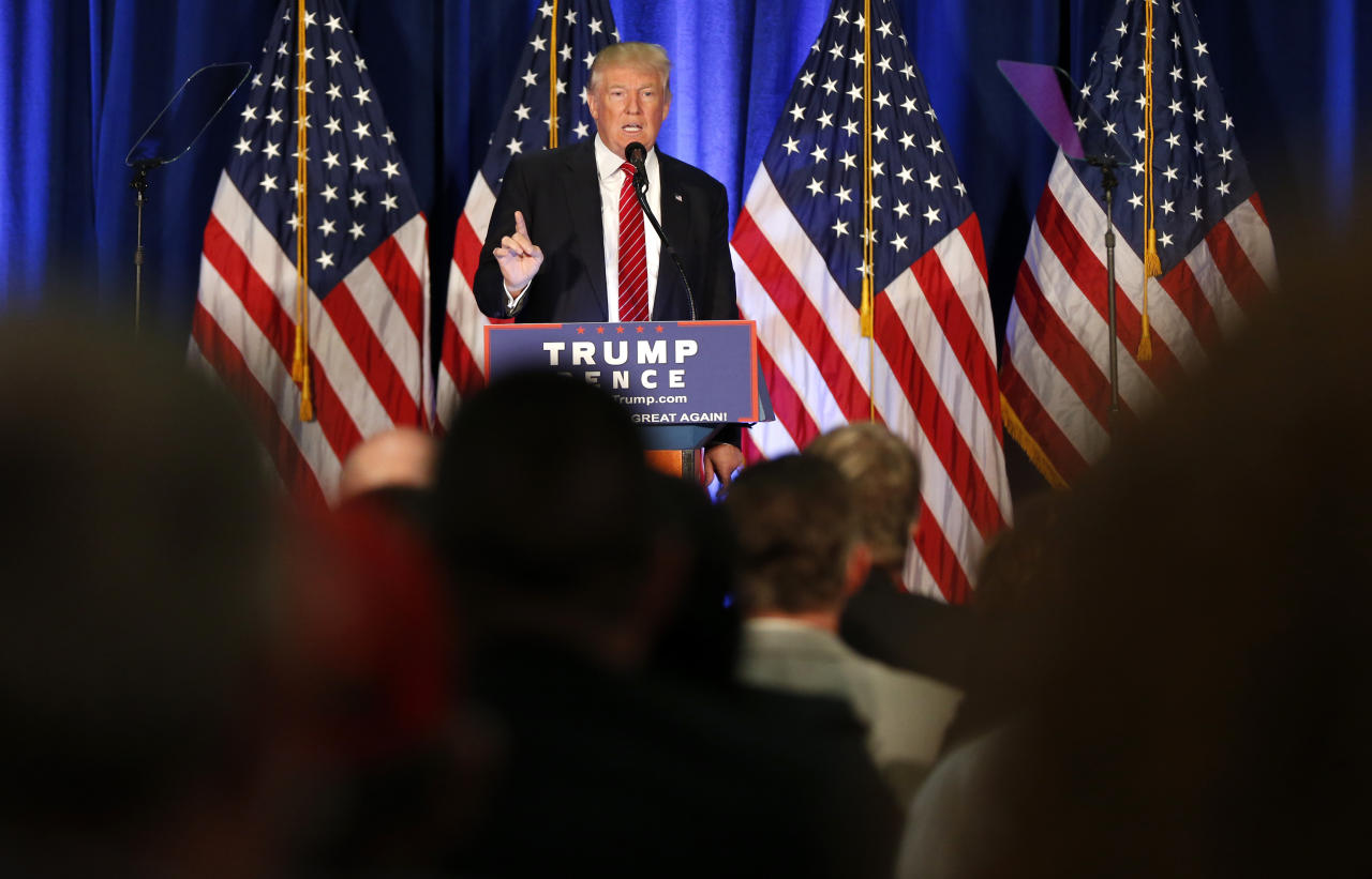 <p> Republican Presidential candidate Donald Trump speaks in Youngstown, Ohio, Monday, Aug. 15, 2016. (AP Photo/Gerald Herbert) </p>