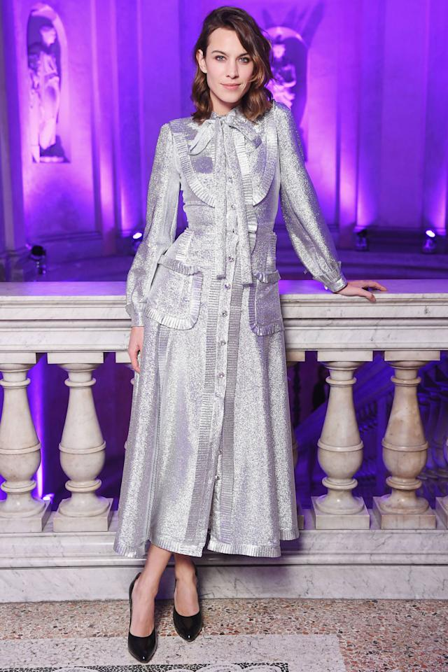 <p><strong>What: </strong>Gucci</p><p><strong>Where: </strong>Gucci After-Party</p><p><strong>Why:</strong><span>The granny dress gets a makeover fit for the disco.</span></p>